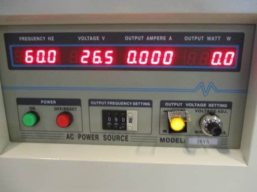 Frequency converter shows 60Hz 26.5v