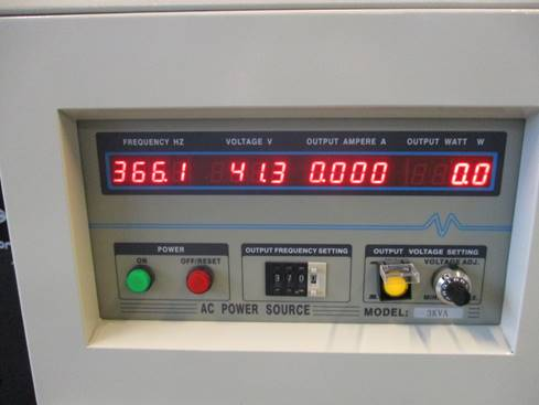 Frequency converter shows 41.3v