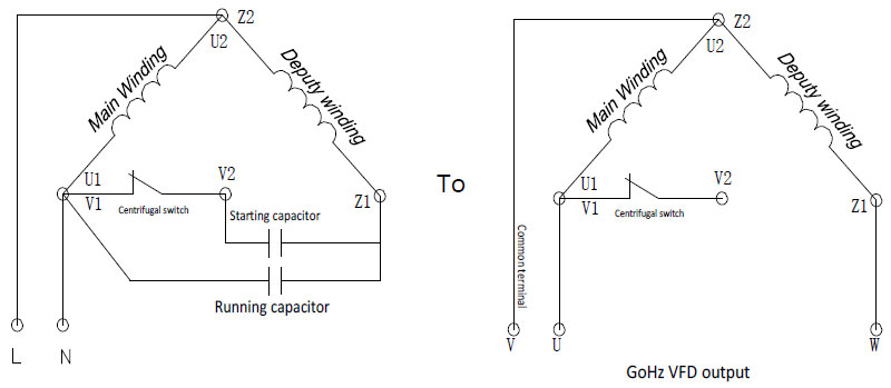 GoHz VFD wiring for single phase induction motor