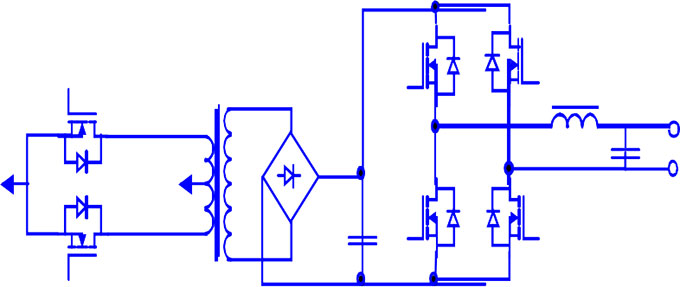 Power inverter circuit with high-frequency transformer