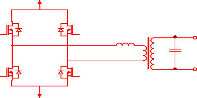 Power inverter circuit with step-up transformer