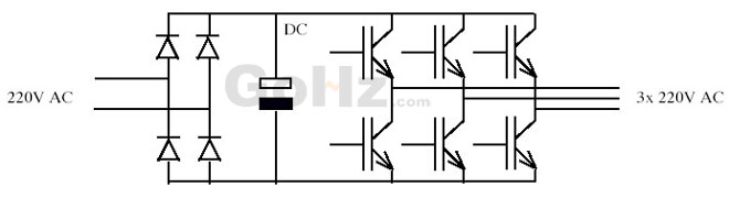 Single phase 220v to three phase 220v diagram