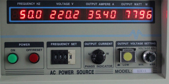 Three phase frequency converter operation panel