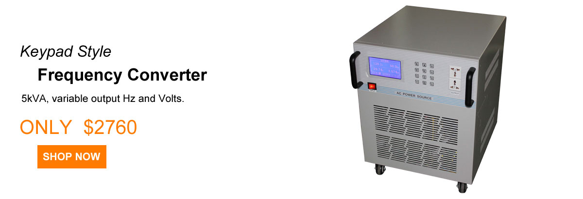5 kVA Frequency Converter, 120V 60Hz to 220V 50Hz